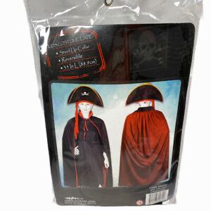 "Kids Halloween Costume Cape Reversible Black / Red Standup Collar 35"" Length"