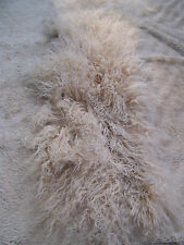 "7"" x 22 Lt Golden Brown Long Shag Mongolian Lamb Real Wool Leather Fur Hair Hide"