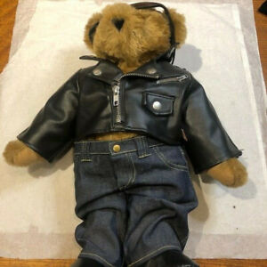Vermont Teddy Bear with Motorcycle Outfit (custom patch)