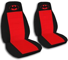 Batman Car Seat Covers in Red & Black Velour Front Set