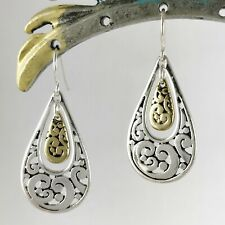 Artisanal Silver and Gold Double Teardrop Dangle Earrings