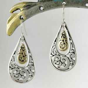 Artisanal Silver and Gold Double Teardrop Dangle Earrings