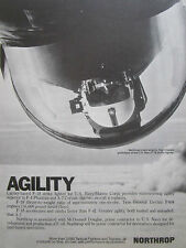 9/1977 PUB NORTHROP F-18 HORNET STRIKE FIGHTER PILOT HELMET AGILITY ORIGINAL AD