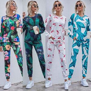 2PCS Women Long Sleeve Tops + Pants Tracksuit Set Ladies Casual Suit Lounge Wear