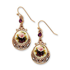 Dark Purple Crystal and Floral Decal Dangle Earrings Rose Tone 1928 Boutique