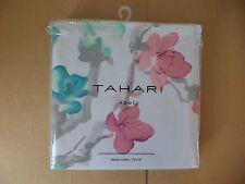 Tahari Fabric Cotton Blend Shower Curtain Printemps Watercolor Floral GREEN/PINK