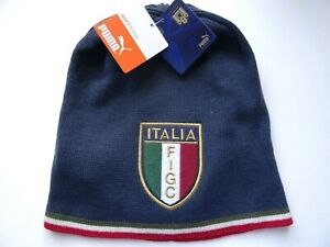 Genuine PUMA ITALIA Football Skull BEANIE Toque Hat Calcio FIGC Indigo Italy TAG