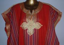 "LADIES DJELLABA / KAFTAN / LONG DRESS RED 54"" WIDE x 50"" LONG ~ Gold Braid"