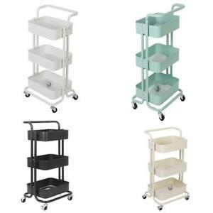 Space Save Kitchen Storage Trolley 3Tiers Metal Rolling Utility Kitchen Cart NEW