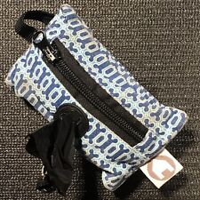 Dog Waste Poop Bags (30) & Blue Fabric Dispenser - Zipper Key Pouch, Leash Strap