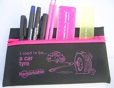 Recycled Pink/Purple stationery tyre pencil case fineline handwriting pens ruler
