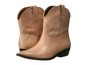 Lucky Brand Women's Chantelx Leather Western Booties Size 8M Tea Rose