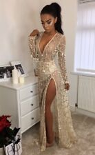 Women Sexy Fringe Sequin Long Sleeve Deep V Neck Evening Party Maxi Prom Dress