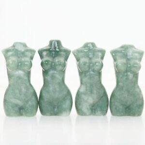"Randomly 1pc 2.4"" GREEN STONE Carved Beauty Model Reiki Crystal Healing Reality"