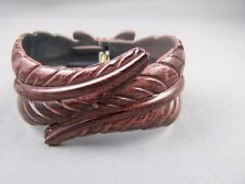 leaf bracelet cuff Dark Brown carved hinged feather Leaves plastic bangle cuff
