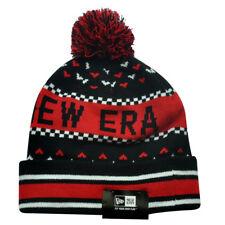 New Era The NE Jake Red Black Winter Warm Cuffed Striped Beanie Knit Hat Toque