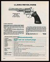 1992 Llama Comanche III Revolver Ad w/ specs & original prices