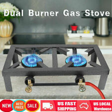 Portable Double Burner Cast Iron Propane LPG Gas Stove Outdoor Camping Cooker