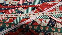 Christmas Grosgrain Ribbon Bundle of 1m lengths 10 Assorted Pieces