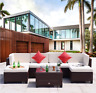Wicker Patio Set 7 Piece Outdoor Furniture Sectional Sofa Set NEW