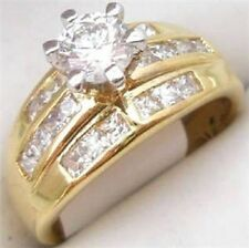 18K GOLD EP 3.0CT DIAMOND SIMULATED ENGAGEMENT  RING 10 or t 1/2
