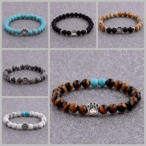 8MM Cute Natural Gemstone Bear's Paw Beads Handmade Tiger's Eye Charm Bracelets