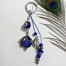Good Luck Keychain Evil Eye Protection Fish Design Keyrings Personalised