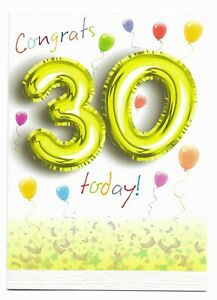 Happy 30th Birthday Greetings Card Balloon Design Age 30 Glossy For Him/Her