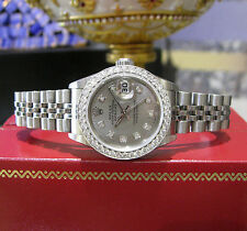 Ladies ROLEX Oyster Perpetual Datejust Diamond Bezel/Dial Stainless Steel Watch