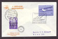 1961 Austria R-1 rocket mail cover - Schmiedl R-1 stamp