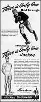 1945 Red Grange Chicago Bears Jockey Underwear vintage art print ad adL56