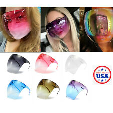 Sunglasses Fashion Mirror Oversized Full Face Cover Space Shield Mask Reflective