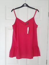 Women's New Top Tops with Adjustable Straps in Cerise Pink by WAREHOUSE size 10.
