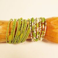 """Set of 2"" Green Multi Strand Beaded Bangle Handmade Cuff Bracelet Glass Beads"