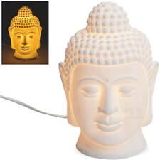 Lampe Dekolampe Buddha Tischlampe Porzellan weiß Leuchte mit Kabel 15x23 cm