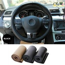 Real Genuine Leather Steering Wheel Cover +Needle Thread for Volkswagen VW Black