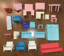 Vintage 1960s Plastic Doll House Furniture Mattel Superior Couch Table Chairs