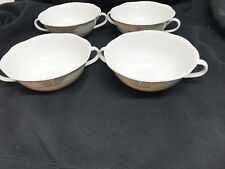Villeroy & Boch Arco Gold Weiss White Bone 4 Cream Soup bowls set of four! Perf!