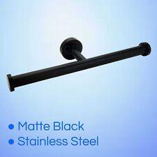 Matte Black Toilet Paper Roll Holder Bracket Wall Double Tissue Rack Rails New