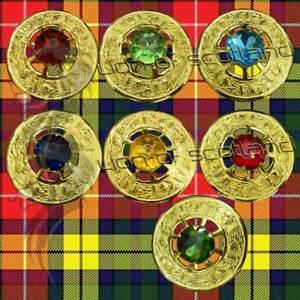 "Scottish Kilt Fly Plaid Brooch Various Stone Gold Finish 3"" Celtic Brooches Pins"