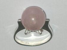 Rosenquarz Kugel Ring massiv Silber 800  Ø 17mm Original 70er Jahre