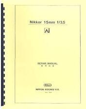 Nikon Nikkor 15mm F3.5 Ai Lens Repair Manual