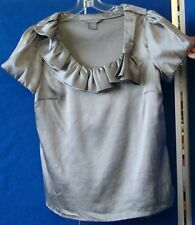 Gorgeous DALIA Scoop Neckline RUFFLED Gray BLOUSE w. Side INVISIBLE Zipper Sz M