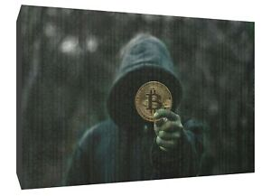bitcoin man crypto canvas wall art Wood Framed Ready to Hang XXL print