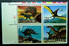 2422 - 2425 Mnh 1989 25c Dinosaurs T Rex Stegosaurus Brontosaurus Pteranodon
