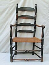 Antique Early American Slat Ladder Back Arm Chair New England c 1790