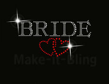BRIDE WITH HEARTS Rhinestone iron on Rhinestone transfer new Bride