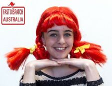 Long PLAITS WIG Pippy Longstocking Dorothy School Girl Costume Party cheap!