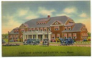 Saco ME Cascade Lodge and Cabins Linen Postcard - Maine