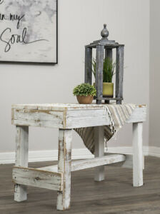 Rustic Farmhouse Bench Reclaimed Wood Entry Kitchen Dining Seat Distressed White